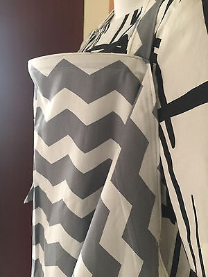 breastfeeding cover up nursing cover privacy apron  XL GRAY WHITE CHEVRON