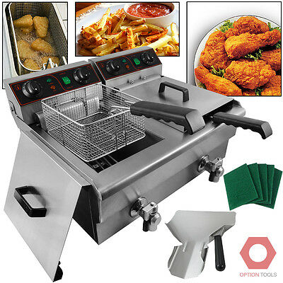 20 Liter Dual Electric 2500W Commercial Kitchen Countertop Deep Fryer Stainless