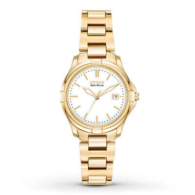 Citizen Eco Drive EW1962-53A White Dial Gold Tone Stainless Steel Women's Watch