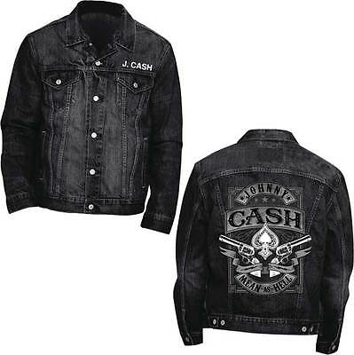 Johnny Cash Mean As Hell Denim Jacket Long Sleeve Music Art Album Rock Blk S-2Xl