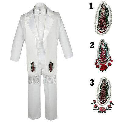 6pc Baby Toddler Kid Teen Boy Formal Baptism Tail White Tuxedo Suit Stole S-20