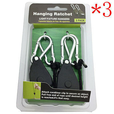 3 Pairs 1/8 Adjustable Rope Ratchet Heavy Duty Hanger For Grow Light Reflector