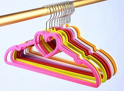 20-200X Non Slip Velvet Flocked Adult Kids Clothes Hangers Trousers Rack Slim BK