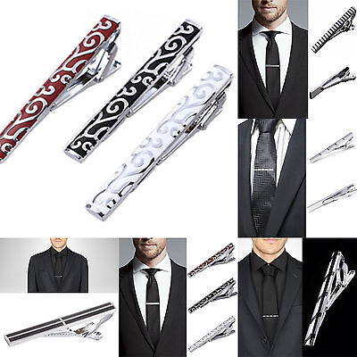 High Fashion Mens Metal Silver+Black Tone Simple Necktie Tie Pin Bar Clasp Clip