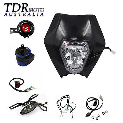 REC REG Motorbike Light Kit Dirt Pit Bike Honda Yamaha Suzuki Kawasaki Black
