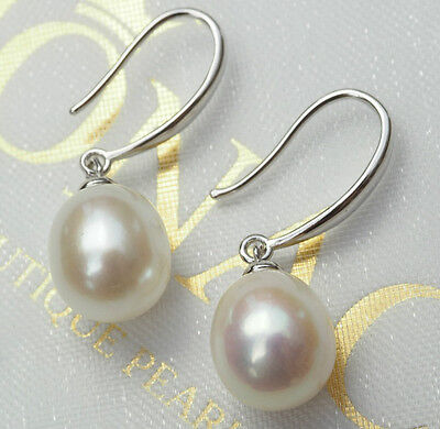 REAL 925 Sterling Silver Freshwater Pearl Drop Earrings 10mm Womens Bridal Gift