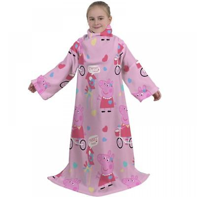 Peppa Pig Tweet Sleeved Fleece Girls Pink Blanket Childrens Snuggle Wrap Throw