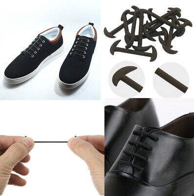 Elastic Silicone No Tie Black & Brown Smart Shoe Laces For Adults & Kids Shoes