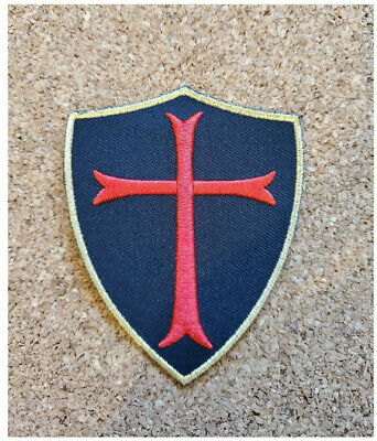 Keychain keyring embroidered patch cross crusader shield templar army ref2 seal