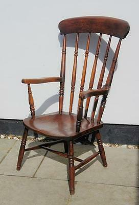 Early 20th c spindle back, country, windsor armchair  Elm/Ash,  wide seat, clean