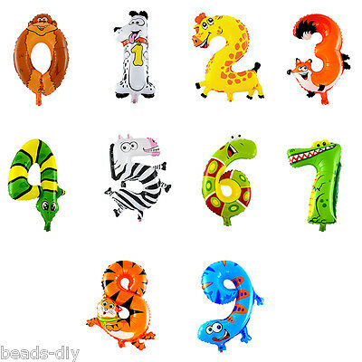 BD Animal Number Foil Balloons Kids Party Decoration Ballon Happy Birthday