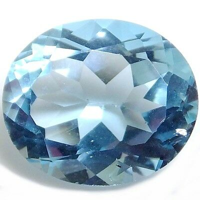 NATURAL SWISS BLUE TOPAZ LOOSE GEMSTONE (14.2 x 12.1 mm) OVAL-FACET (9.29 CT)