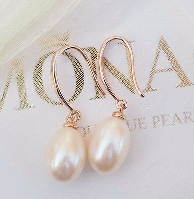 GORGEOUS Freshwater Pearl Drop Earrings 925 Sterling Silver Rose Gold Plated 9mm