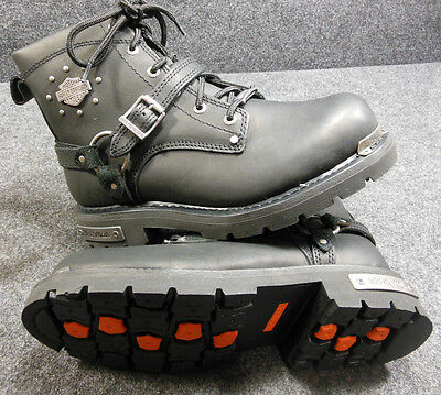 New Harley Becky Ladies Ankle Lace Up Buckle Boots Size 8.5 D87048 #C156
