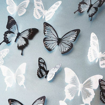 18 pcs 3D Butterfly Decor Gift Fashion Crystal Wall Stickers Decals Hot Sale e