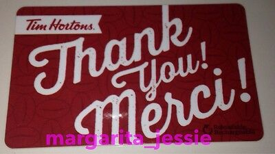 """Tim Hortons Canada 2016 Gift Card Red """"thank You/merci"""" Fd51888 No Value #6126"""