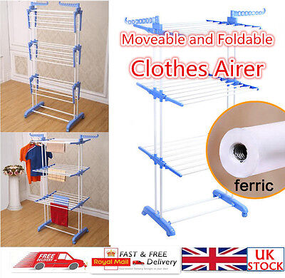 3 Tiers Indoor Clothes Airer Laundry Dryer Rack Garment Towel Organizer Stand