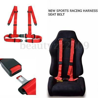 Universal Vehicle Racing 4 Point  Auto Car Safety Seat Belt Buckle Harness Red