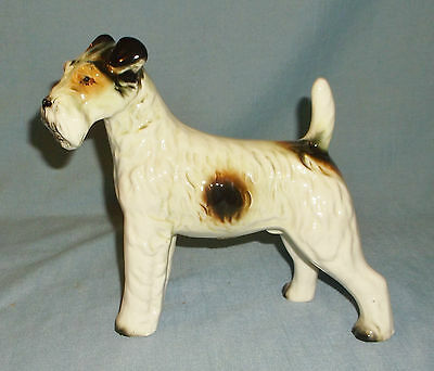 Vintage Wales Porcelain Large Fox Terrier Dog Figurine Tri Color