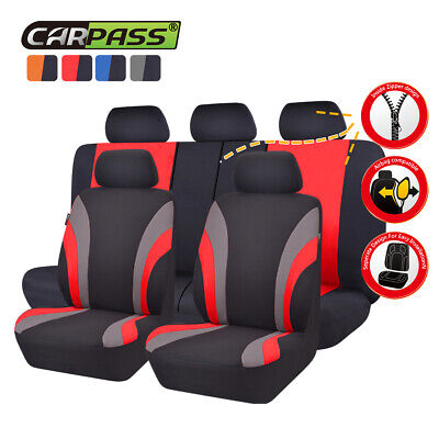 Universal Car Seat Covers Truck SUV Car Seat Cover Set Black Red Seat Cover Set
