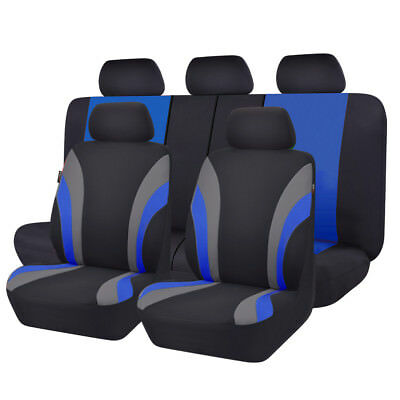 Universal Black/blue Full Rear Car Seat Covers Set For Car Seat Cushion