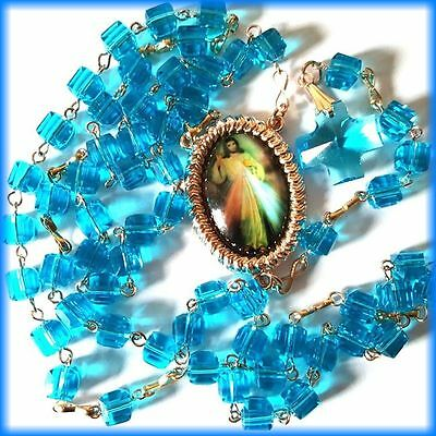 Rosary Catholic Beads Necklace Cross Crucifix Vintage Divine Mercy Aquamarine