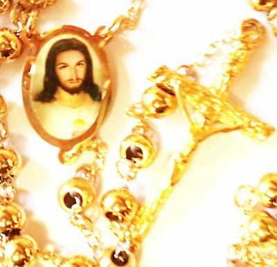 Deluxe Gold Filled Rosary 18K with Jesus and Vintage Art Deco Chain Jewelry topm