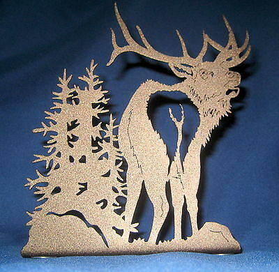"Bull ELK Metal Decor Accent 6 1/2"" High x 5 3/4"" Wide Hunting Hunter Gift New"