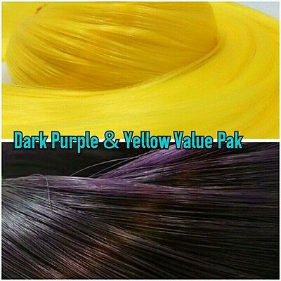 Yellow & Purple XL 4oz 2 Color Value Pak Nylon Hair Hanks for Rooting MLP Dolls
