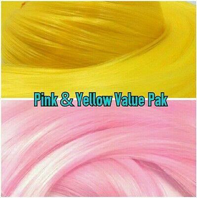 Pink & Yellow XL 4oz 2 Color Value Pak Nylon Hair Hanks for Rooting MLP Dolls