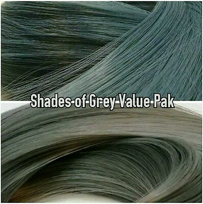 Ash Blue & Grey XL 4oz 2 Color Value Pak Nylon Hair Hanks for Rooting MLP Dolls