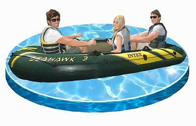 Intex Inflatable Boat Seahawk 3 Man Dinghy Fishing Rod Holders Lakes Mild Rivers
