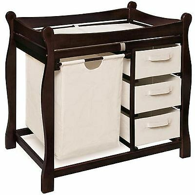 Sleigh Style Espresso Changing Table with Hamper  Baskets Baby Nursery Furniture