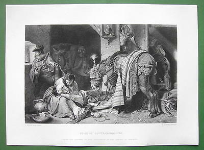 SPAIN Freedom Fighters Wounded Soldier Donkey !! SUPERB Engraving Antique Print