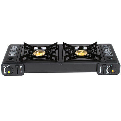 2-Burner Butane Countertop Range  Portable Stove with Brass Burners