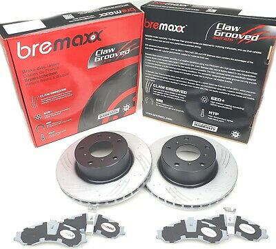BREMBO pads & BREMAXX slotted disc brake rotors FRONT for NISSAN PATROL GU Y61