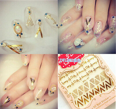 Manicure Decoration Gold 3D Tips Mix Decal Nail Art Stickers 2016 Stamping DIY