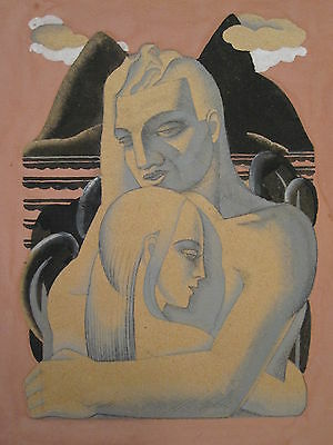 Antique Vintage Art Deco Era Romance Love Couple Fine Painting Chicago Origin