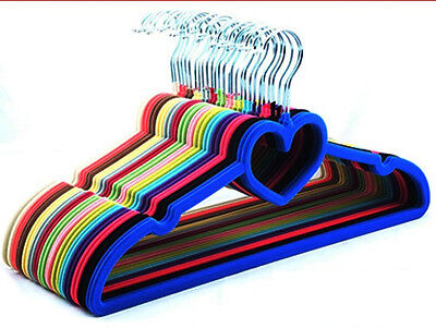 NonSlip Velvet Flocked Clothes Coat Hangers With Bar Garment Hanging Pack 20-200