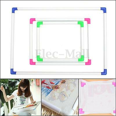 3 Size Plastic Rectangle Embroidery Frame Sit On Cross Stitch Handle Hoop Tool