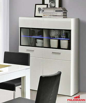 highboard anrichte led weiss matt weiss hochglanz glas schwarz 100cm neu eur 339 00. Black Bedroom Furniture Sets. Home Design Ideas