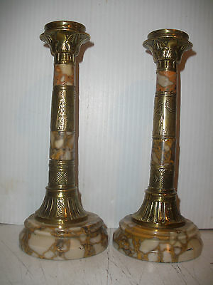 Great pair Antique 19th Egyptian Revival bronze marble Candlestick Heiroglyphic