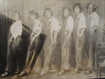 Antique African American Cute Buffalo Flapper Girls Overall Jeans Artistic Photo