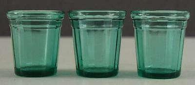 """Vintage AKRO AGATE Transparent GREEN Glass Medicine Cups Lot 3 2"""" Tall"""