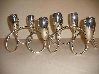 Great vintage pair Mexican Sterling silver Modernist triple Candelabras signed