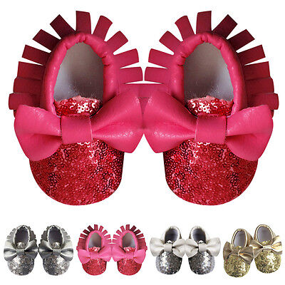 Toddler Newborn Baby Girl Tassel Bowknot Soft Leather Shoes Infant Moccasins New