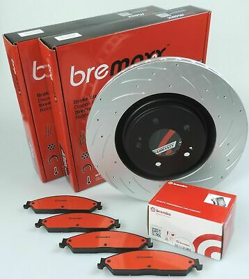 BREMBO pads & BREMAXX slotted disc brake rotors FRONT for FORESTER X XS XT 2002-