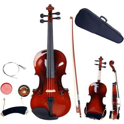 New 1/4 Natural Acoustic Violin +Case +Bow +Rosin +Strings +Tuner +Shoulder Rest