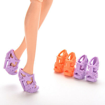 10 Pairs High Heels Shoes With Stars For Barbie Doll Color Random 2cm Kids AOZ