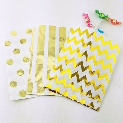 50 X Gold Foil Party favour chevron Wedding birthday paper candy lolly bags